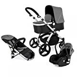 Kinderwagen Set MAGICA mit Babyschale 3 in 1 Kombi Kinderwagen Anthrazit