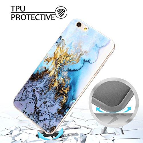 Coque iPhone 6 Plus , Etui TPU Silicone Souple Flexible Ultra Mince Protection Case Cover Mode Dessin Marbre Motif E-Lush Enveloppe Coque Pour Apple iPhone 6 Plus ( 5.5 pouces) Housse Cas Soft Slim Ge Bleu et Gris