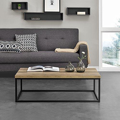 [en.casa]® Couch-Tisch Design MDF - Holzfarben - 110x65x35cm - Beistelltisch Wohnzimmer Deko