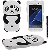 Coque Protection Case pour Samsung Galaxy S7 Edge, 3D Mignon Dessin animé Panda Forme Série Divers Couleur Housse Etui Souple Silicone Poids Léger Anti choc Cover avec 1 stylet