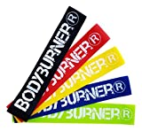 Bodyburner Fitnessbänder Set 5 Stärken für Muskelaufbau, Gymnastik, Aufwärm- oder Dehnübungen, Yoga, Pilates, Crossfit, Physiotherapie / Widerstandsbänder Trainingsbänder Übungsbänder Resistance bands Loops