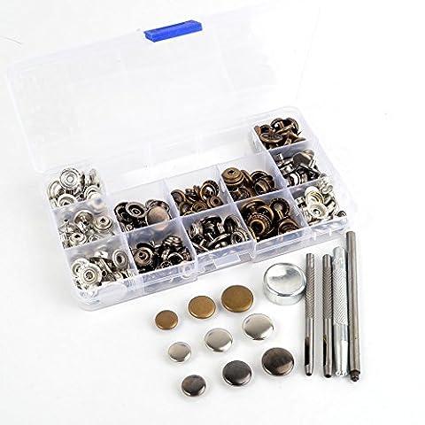 Druckknopf-Set mit insgesamt 60 kompletten Druckknöpfen in 3 Größen (12,5,
