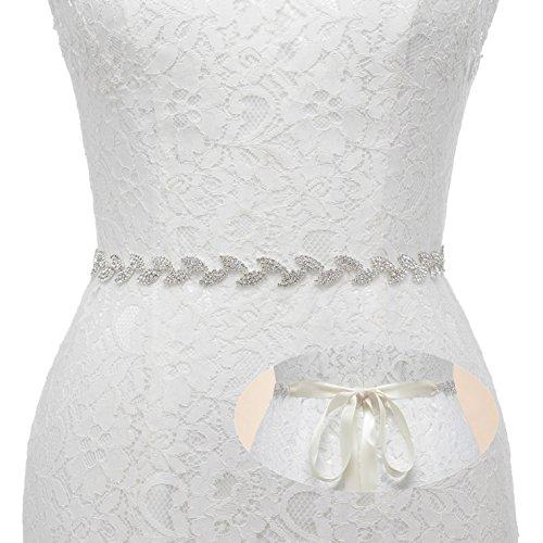 SWEETV Funkelnde Blatt Kristall Gürtel Schärpe mit Band - Strass Gürtel Schmuckgürtel Kleid Zubehör für Frauen, Silber+Elfenbein