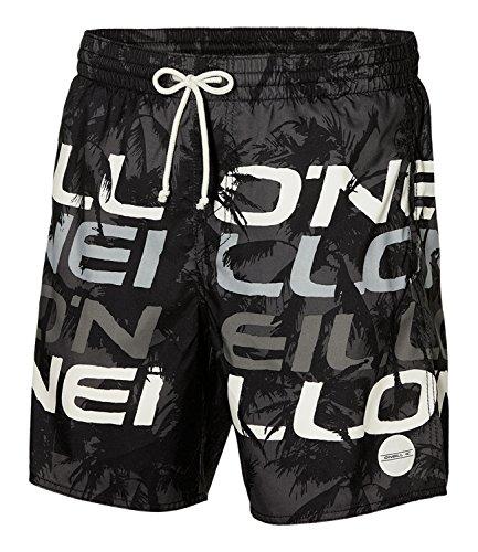 O'Neill Herren Stacked Shorts Bademode Badeshorts, Black AOP W/White, M