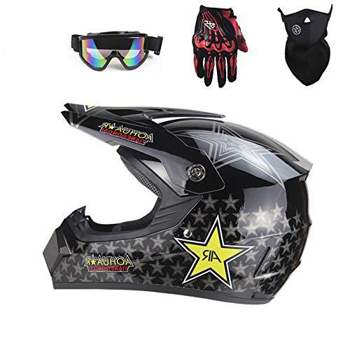 PKFG® 226 DH Motocross Helm, Adult Full face Helm Sport Adventure Enduro Motorradhelme Motocross MTB Helm mit Handschuhe Maske Brille,M56~57CM Adventure Handschuhe