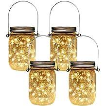HopeU5 Luces de tarro de masón Paquete de 4 Tarros de albañil solares  Decoración Tapa de a086eb9b213