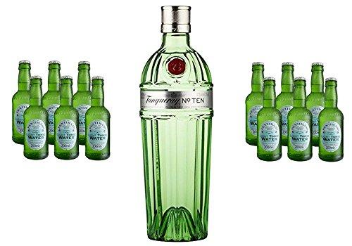 Tanqueray No TEN Small Batch Gin (1 x 0.7 l) mit Fentimans Light Tonic Water, EINWEG (12 x 200 ml)