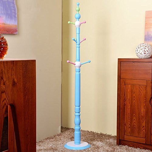 LYM & türhaken türgarderobe Kid's Mantel Hut Rack Holz Stand, Hall Baum mit 6 Haken Display Stand Simple Assembly of Coat Regale türhakenleiste (Color : Blue, Size : 177 * 33CM) (Hall-baum Blue)