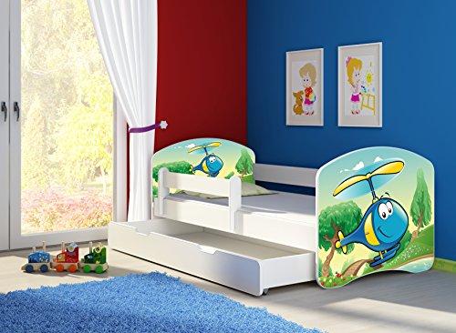 Clamaro \'Fantasia Weiß\' 160 x 80 Kinderbett Set inkl. Matratze, Lattenrost und mit Bettkasten Schublade, mit verstellbarem Rausfallschutz und Kantenschutzleisten, Design: 35 Hubschrauber