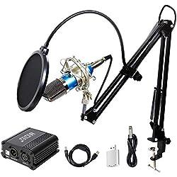 TONOR Microphone à Condensateur XLR à 3,5 mm Podcasting Studio Enregistrement Professionnel Kit Micro avec Alimentation Fantôme 48V et Convertisseur AC EU