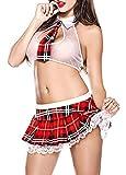 Lingerie Babydoll Sexy,Donna School Girl Uniform Costume vestito da Lolita Mini Top e gonna plaid a Pieghe