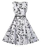 Evedaily Damen Vintage Rockabilly Kleider Elegantkleid Festliches Cocktailkleid Partykleid Abendkleid Ärmellos mit Gürtel (M, Schwarz und weiß)