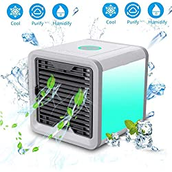 FdgdfRefroidisseur d'air, Mini Ventilateur de Bureau purificateur d'air humidificateur 3 dans 13 Ventilateur accélère Zone de Refroidissement de 4 Pieds Portable Bureau climatisé et Chambre à Coucher
