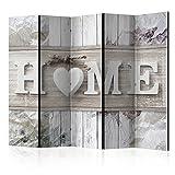 murando Raumteiler Home Holz-Optik Foto Paravent 225x172 cm beidseitig auf Vlies-Leinwand Bedruckt Trennwand Spanische Wand Sichtschutz Raumtrenner weiß beige m-C-0250-z-c