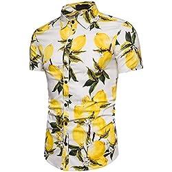 Cinnamou Personalidad Men 's Casual Slim Printed Shirt Top Blusa manga corta la piña (Blanco, M)