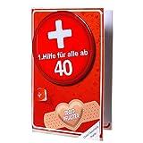 Geldgeschenk-Karte 40 40ster Geburtstag 1.Hilfe Metall Button Glückwunschkarte Trostpflaster