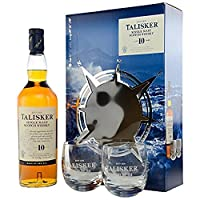 Talisker 10 Year Old Single Malt Scotch Whisky with Limited Edition Gift Pack including Two Rocking Glasses, 70 cl