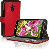 iGadgitz u3464Folio rot für Handy-Hüllen für Mobiltelefone (Folio, Motorola Moto G2, Rot)