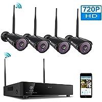 (H.264+) Kit caméras de surveillance sans fil, 4 caméras 720P WiFi étanches, détection mouvement, vision nocturne, envoi d'alerte email, lecture sur portable et PC, installatino intérieur et extérieur