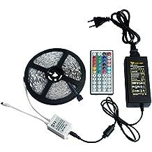SINOVO TEC® Tiras LED Iluminación 10m 300leds 5050 SMD RGB Multicolor Kit Completo con Control Remoto de 44 Botones y Fuente de Alimentación 24V 6A para la Decoración del Hogar.