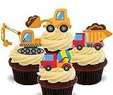 Schaufler und Lastwagen, Kinder-Baufahrzeug-Sammlung, essbare Kuchen/Torten-Dekorationen - Cupcake-Oblaten zum Aufstellen und Verzieren, 12er-Pack