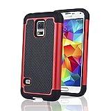 SAVFY Coque Anti-Choc pour Samsung Galaxy S5 Mini + FILM D'ECRAN + STYLET OFFERTS! Housse Etui Anti-poussière solide surface + Soft Souple Defender pour Samsung Galaxy S5 Mini SM-G800 (Wifi/3G/4G/LTE) - Rouge