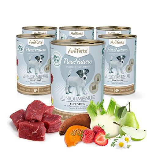 Comida Húmeda para Cachorros de Perro Sin Cereales | Carne de Vacuno con Patatas (6 x 400g) | Sin Granos Ni Conservantes | Dieta Barf | AniForte