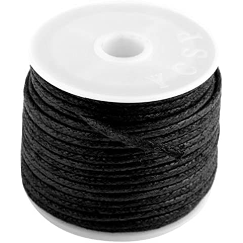 Ecloud Shop® Rollo Cuerda Hilo de Algodón negra para collar joya DIY