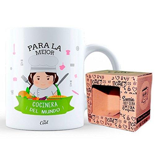 Mr Cool Taza 33 cl en Caja Regalo con Mensaje para la Mejor Cocinera ¡del Mundo, Cerámica, 15x10x5 cm