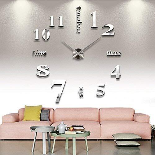 Mfeir® orologio da parete effetto tridimensionale 3d sticker decorazione per casa ufficio hotel ristorante fai da te