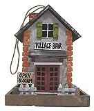 Vogelhaus, Futterhaus für Vögel, Vogelfutterhaus, bunt bemalt (Motiv Bank)