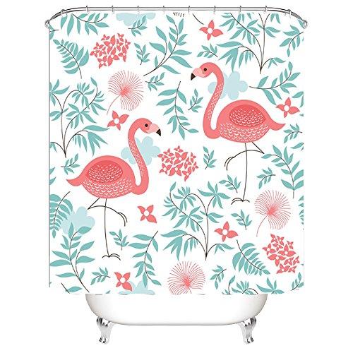 1PCs Digital Druck Duschvorhang Anti-Schimmel Anti-Bakteriell Flamingo Digital Gedruckt Badvorhang Badezimmer Duschvorhang 180cm x 200cm Flamingo Polyester Hooked Bathroom (Flamingo Duschvorhang)