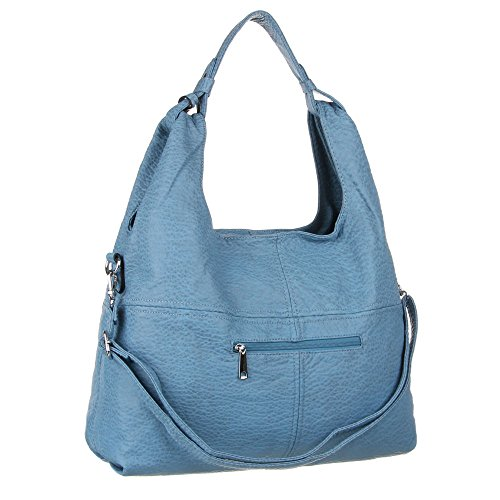 Damen Tasche, Große Tragetasche Umhängetasche, Kunstleder, TA-2335-52 Blau