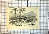 Old-print Copie Antique des 11èmes Hussards Kingstown d'Embarquement À bord du Bateau 1854 Est de Tyrone
