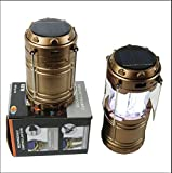 Gl-85 Solar Led Emergency Light, Usb Mobile Charger & 3 Power Source Hiking Lantern (Black & Gold)