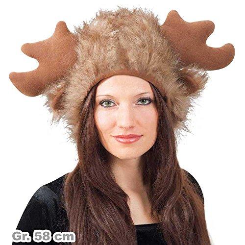 Karnevals Teufel Plüschmütze Elch Gr. 58 cm Accessoire Elch-Hut Kopfbedeckung