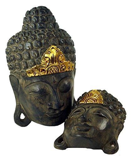 Guru-Shop Máscara de Buda con el Ajuste del oro en 3 Tamaños, Tamaño: 50 cm, Máscaras