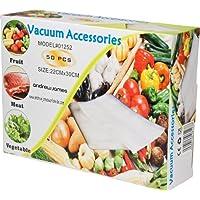Andrew James 50 Vacuum Sealer Bags   22cm x 30cm Embossed Packaging   Food Vacuum Sealer Accessories   Reusable Dishwasher Microwave & Freezer Safe