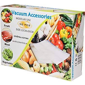 Andrew James Vacuum Food Sealer Bags, Pack of 50 Bags, Each Bag 22cm x 30cm, Reusable, Dishwasher and Microwave Safe