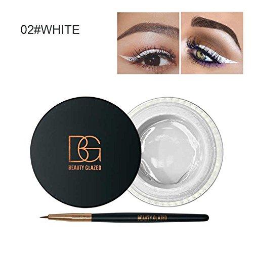 Beauty Glazed Eyeliner Gel Crème Avec La Brosse de Maquillage Cosmétique Waterproof Imperméable Eye Liner Brosse Kit Blanc