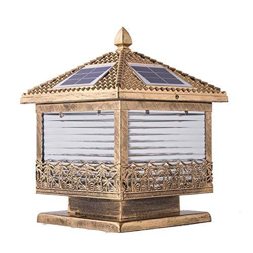 Mpotow Amerikanische Bronze Solar LED Säule Lampe Glas Laterne IP65 wasserdicht Outdoor Säule Lampe Garten Home Balkon Rasen Landschaft Wand Außen Säule Licht Temperatur einstellbar (Größe : L-30cm) -