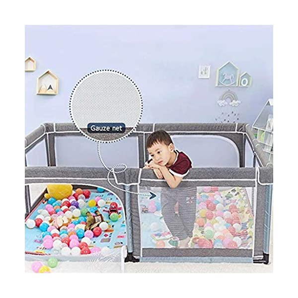 Infant Toddler Fence Household Shatter-resistant Toys House Baby Game Playpen Children's Safety Fence Crawling Bar, Height 70cm  【Safety and eco-friendly】: Keep baby safe & secure whilst providing a large play area, mesh sides for easy visibility and weather resistant canvas floor. 【Toy storage】: The fence is not only a playground for children, but also can put the baby's toys on the fence, let the baby play in the fence, meet the baby's playing spirit and keep a clean and tidy home. 【Ability development】: Intellectual development, manual brain, crawling, interest training, parent-child communication, hearing, interactive toys, grasping, sense. 4