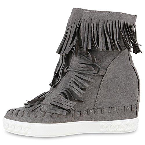 Sneaker-Wedges Damen Fransen Sneakers Ketten Keil Absatz Grau