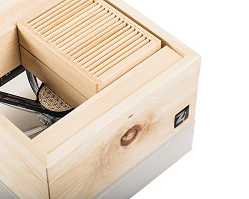 ZirbenLüfter CUBE mini pure, natürlicher Luftbefeuchter / Luftreiniger aus Zirbe / Zirbenholz. – Räume bis 15 m2. (Abdeckung Holz – Zirbe mit Blume des Lebens) - 2