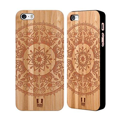 Head Case Designs Paisley Zeichnungen Im Holz Hülle mit Rückseite aus Bambus Holz für Apple iPhone 5 / 5s / SE Lotus