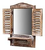 more-decor-de Wunderschönes Spiegelfenster Badspiegel Spiegel mit Klappläden und Ablage - aus Holz - im Landhaus Stil - Braun - 31cm x 47,5cm