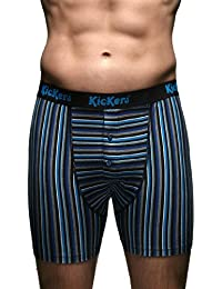 Kickers Homme Coton Rayé Bouton Fly Boxer