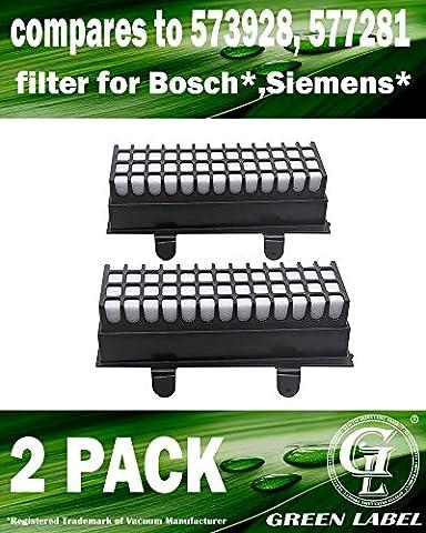 Lot de 2 filtres hygiéniques haute performance pour les aspirateurs Bosch et Siemens Relaxx'x Pro Silence (alternative à 00577281, 00573928). Produit Green Label authentique