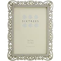 Antique Vintage and Shabby Chic Style silver metal photo frame with beads and crystals for (Shiny Silver Beads)