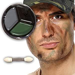 Tarnschminke Camouflage make up braun schwarz grün Soldaten Schminke Faschingsschminke Soldat Kämpfer